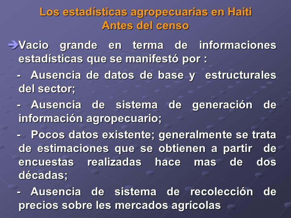 Los estadísticas agropecuarias en Haiti Antes del censo Vacio grande en terma de informaciones estadísticas que se manifestó por : Vacio grande en terma de informaciones estadísticas que se manifestó por : - Ausencia de datos de base y estructurales del sector; - Ausencia de datos de base y estructurales del sector; - Ausencia de sistema de generación de información agropecuario; - Ausencia de sistema de generación de información agropecuario; - Pocos datos existente; generalmente se trata de estimaciones que se obtienen a partir de encuestas realizadas hace mas de dos décadas; - Pocos datos existente; generalmente se trata de estimaciones que se obtienen a partir de encuestas realizadas hace mas de dos décadas; - Ausencia de sistema de recolección de precios sobre les mercados agrícolas - Ausencia de sistema de recolección de precios sobre les mercados agrícolas