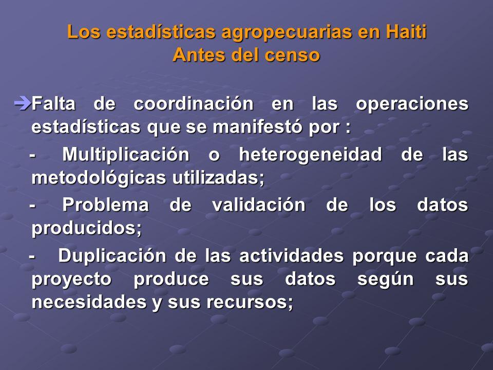 Los estadísticas agropecuarias en Haiti Antes del censo Falta de coordinación en las operaciones estadísticas que se manifestó por : Falta de coordinación en las operaciones estadísticas que se manifestó por : -Multiplicación o heterogeneidad de las metodológicas utilizadas; -Multiplicación o heterogeneidad de las metodológicas utilizadas; -Problema de validación de los datos producidos; -Problema de validación de los datos producidos; - Duplicación de las actividades porque cada proyecto produce sus datos según sus necesidades y sus recursos; - Duplicación de las actividades porque cada proyecto produce sus datos según sus necesidades y sus recursos;
