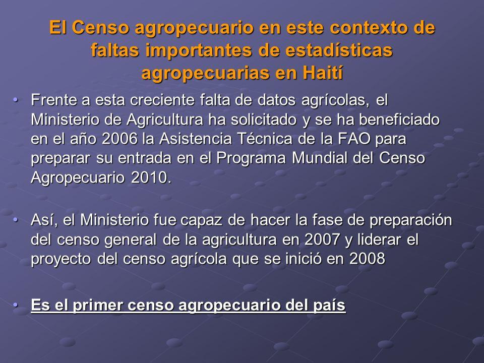El Censo agropecuario en este contexto de faltas importantes de estadísticas agropecuarias en Haití Frente a esta creciente falta de datos agrícolas, el Ministerio de Agricultura ha solicitado y se ha beneficiado en el año 2006 la Asistencia Técnica de la FAO para preparar su entrada en el Programa Mundial del Censo Agropecuario 2010.Frente a esta creciente falta de datos agrícolas, el Ministerio de Agricultura ha solicitado y se ha beneficiado en el año 2006 la Asistencia Técnica de la FAO para preparar su entrada en el Programa Mundial del Censo Agropecuario 2010.