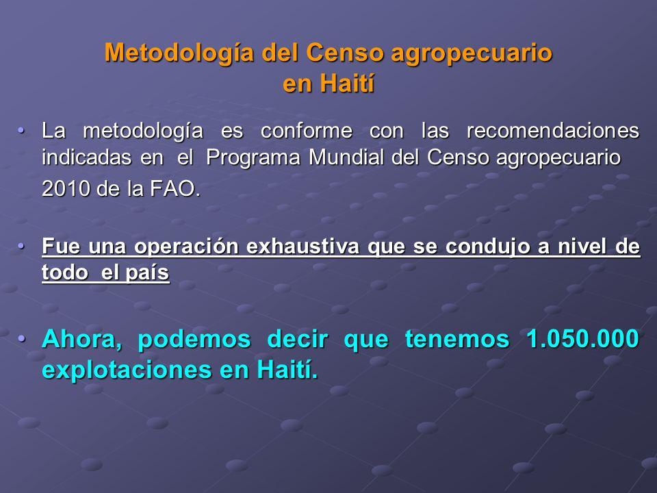 Metodología del Censo agropecuario en Haití La metodología es conforme con las recomendaciones indicadas en el Programa Mundial del Censo agropecuarioLa metodología es conforme con las recomendaciones indicadas en el Programa Mundial del Censo agropecuario 2010 de la FAO.