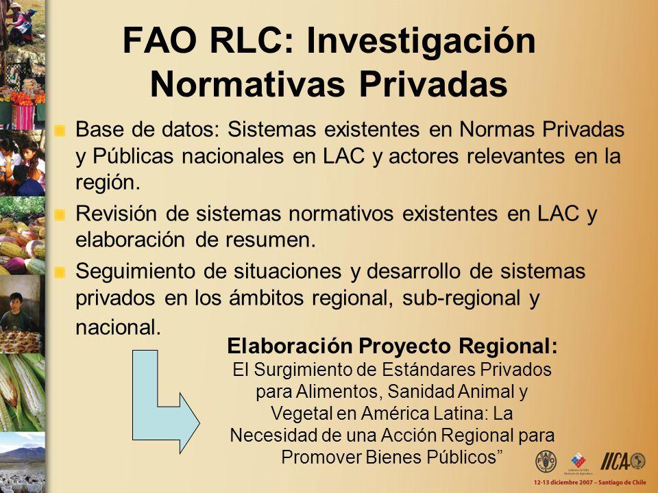 FAO RLC: Investigación Normativas Privadas Base de datos: Sistemas existentes en Normas Privadas y Públicas nacionales en LAC y actores relevantes en