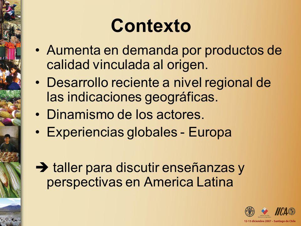 Contexto Aumenta en demanda por productos de calidad vinculada al origen. Desarrollo reciente a nivel regional de las indicaciones geográficas. Dinami