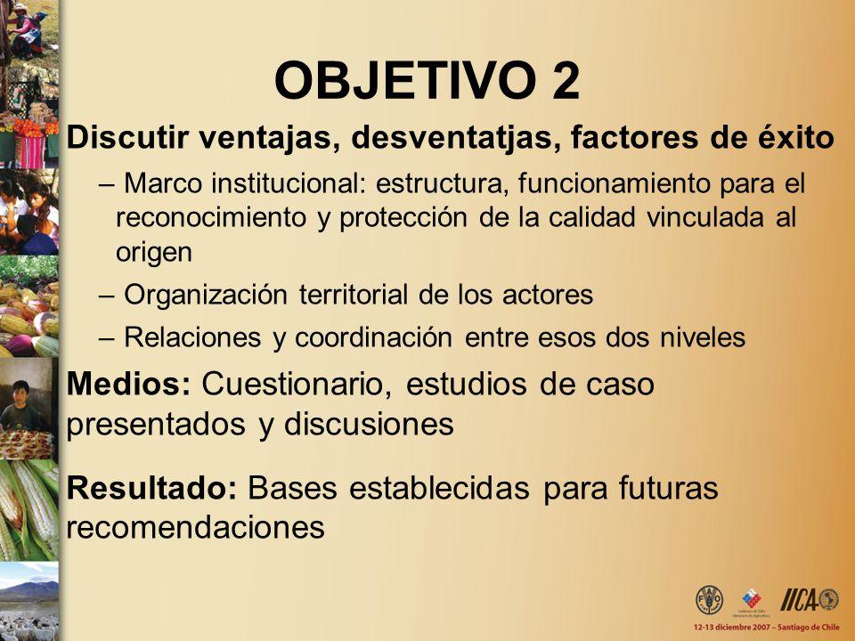 OBJETIVO 2 Discutir ventajas, desventatjas, factores de éxito – Marco institucional: estructura, funcionamiento para el reconocimiento y protección de