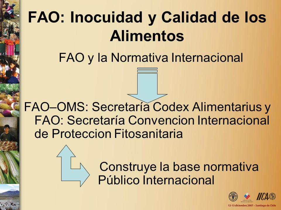 FAO: Inocuidad y Calidad de los Alimentos FAO y la Normativa Internacional FAO–OMS: Secretaría Codex Alimentarius y FAO: Secretaría Convencion Interna