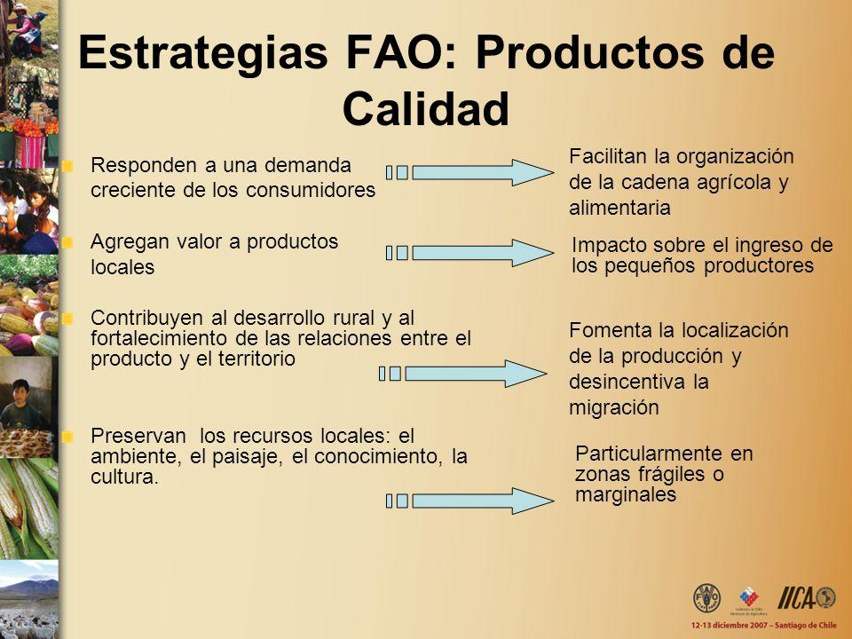 Estrategias FAO: Productos de Calidad Responden a una demanda creciente de los consumidores Agregan valor a productos locales Contribuyen al desarroll