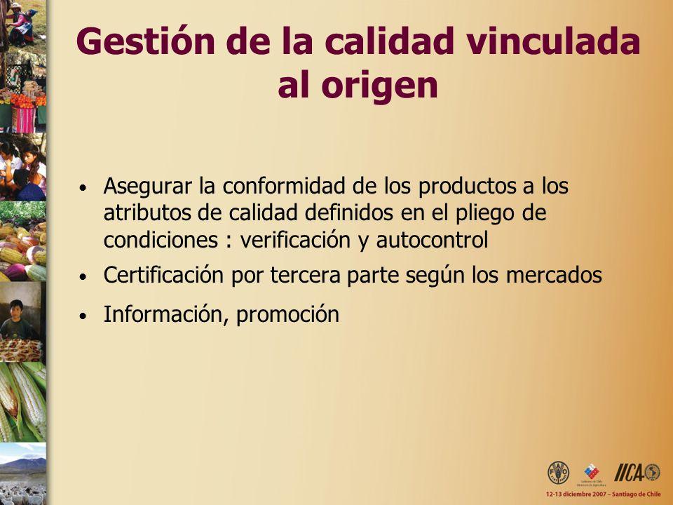 Gestión de la calidad vinculada al origen Asegurar la conformidad de los productos a los atributos de calidad definidos en el pliego de condiciones :