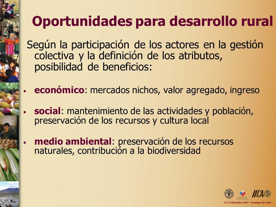 Según la participación de los actores en la gestión colectiva y la definición de los atributos, posibilidad de beneficios: económico: mercados nichos,