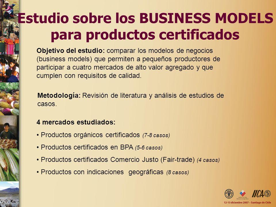 Estudio sobre los BUSINESS MODELS para productos certificados Objetivo del estudio: comparar los modelos de negocios (business models) que permiten a