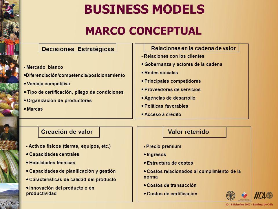 BUSINESS MODELS MARCO CONCEPTUAL Decisiones Estratégicas Creación de valor Mercado blanco Diferenciación/competencia/posicionamiento Ventaja competiti