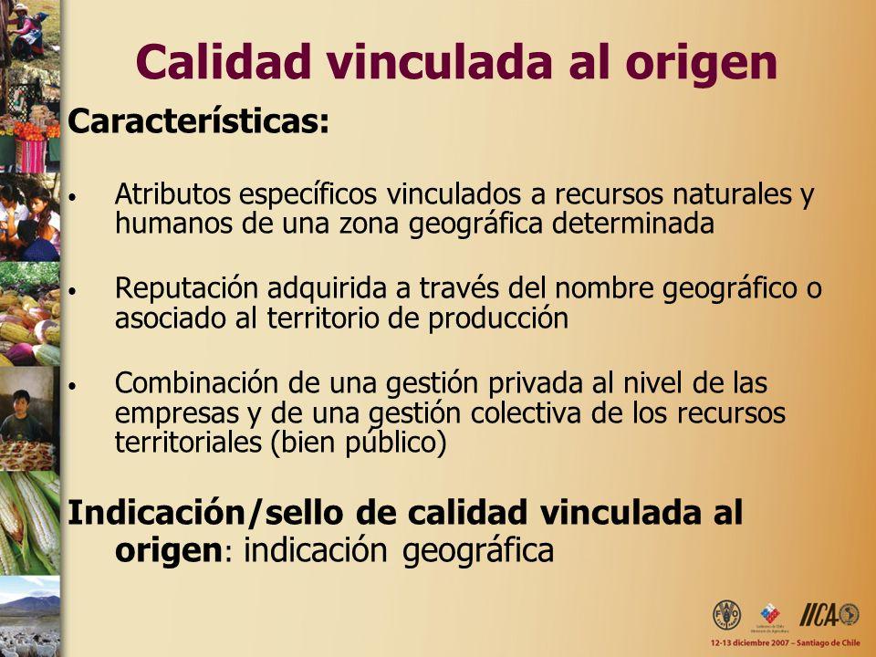 Calidad vinculada al origen Características: Atributos específicos vinculados a recursos naturales y humanos de una zona geográfica determinada Reputa
