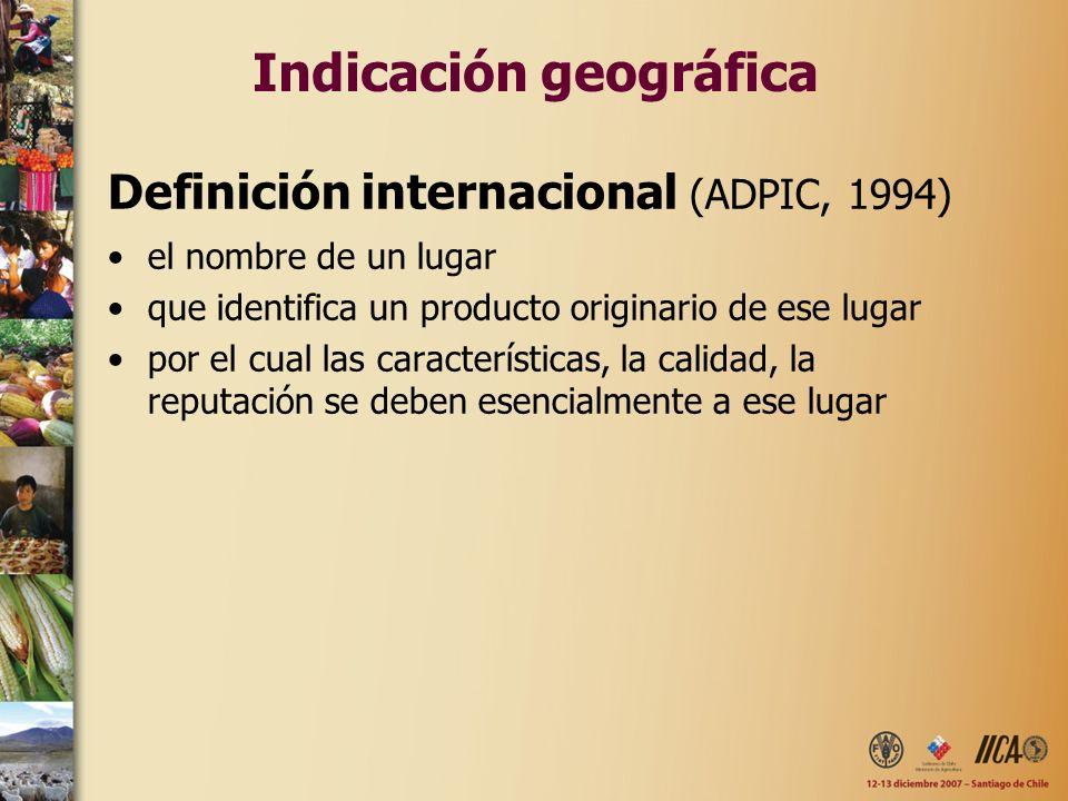 Indicación geográfica Definición internacional (ADPIC, 1994) el nombre de un lugar que identifica un producto originario de ese lugar por el cual las