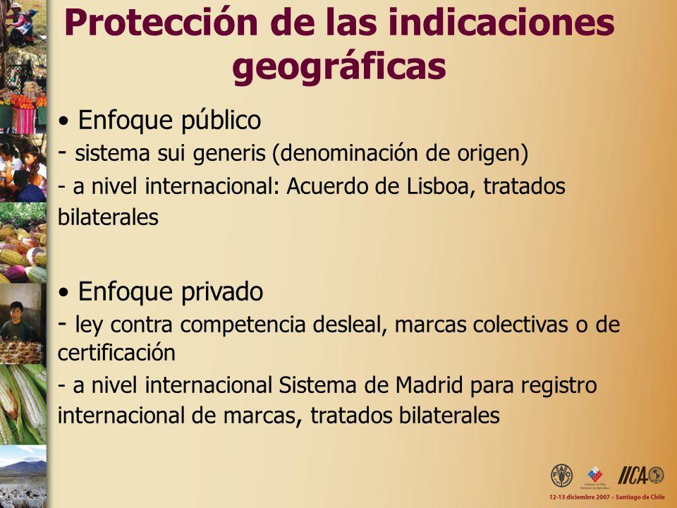 Protección de las indicaciones geográficas Enfoque público - sistema sui generis (denominación de origen) - a nivel internacional: Acuerdo de Lisboa,
