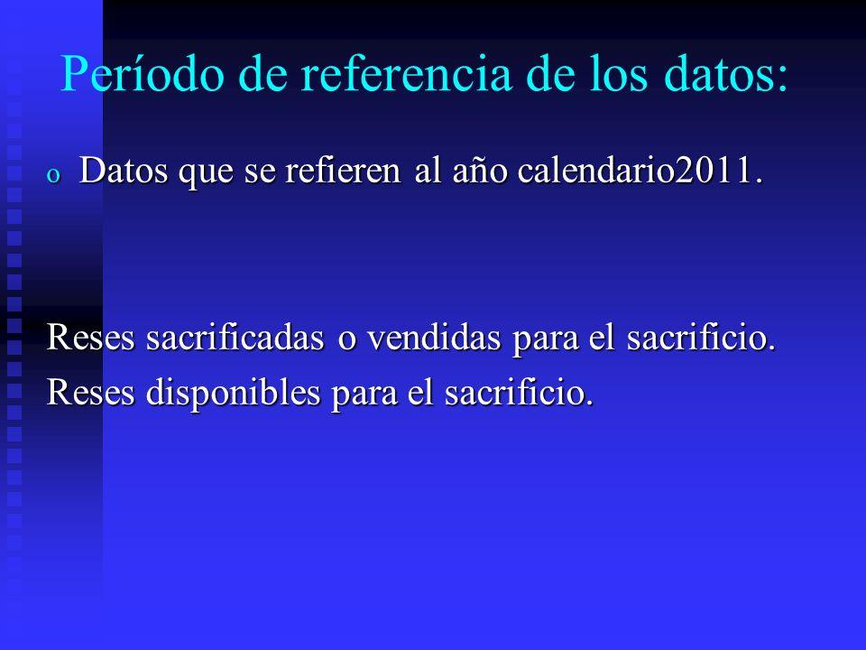 Período de referencia de los datos: o Datos que se refieren a los últimos 10 años: (2002 al 2011) Siembras para reforestar o Datos que se refieren al año calendario 2010: Todos los demás datos del Cuestionario Censal se refieren al período del 1° de enero al 31 de diciembre de 2010, denominado el año Censal.