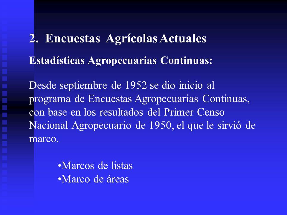 En lo que respecta a la recolección de datos estadísticos del sector agropecuario lo hacemos por medio de los Censos Agropecuarios y las Encuestas por muestras.