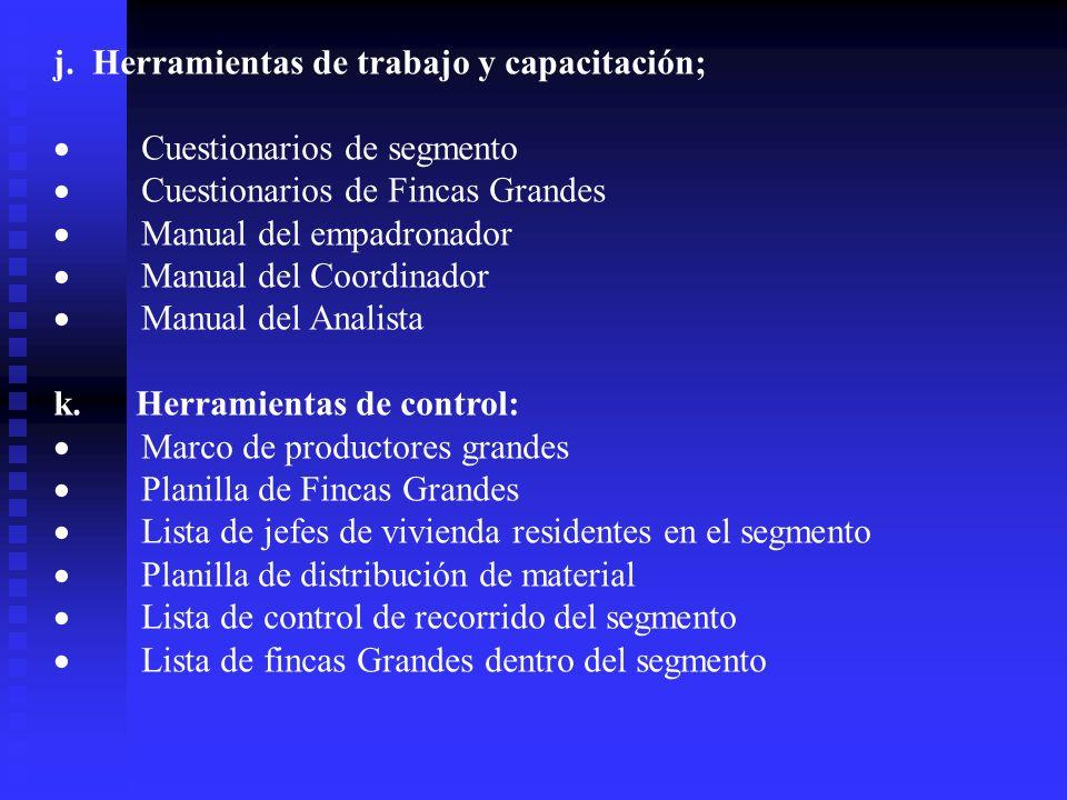 j. Herramientas de trabajo y capacitación; Cuestionarios de segmento Cuestionarios de Fincas Grandes Manual del empadronador Manual del Coordinador Ma