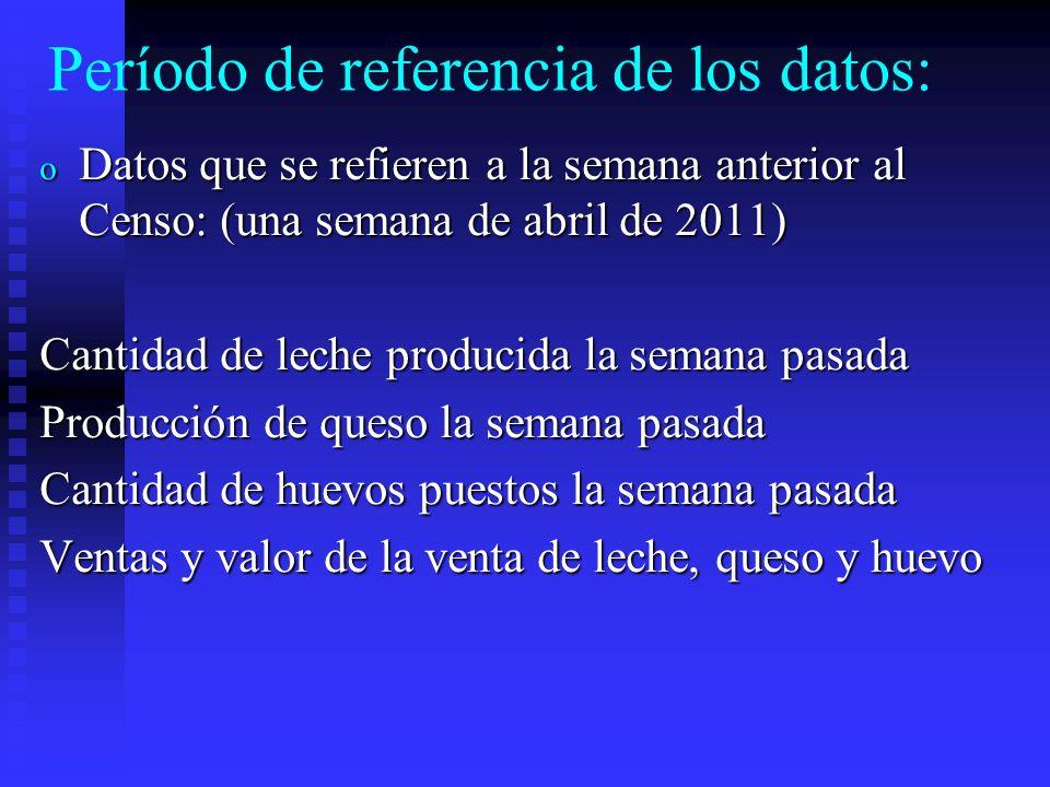 Período de referencia de los datos: o Datos que se refieren al mes anterior al Censo.