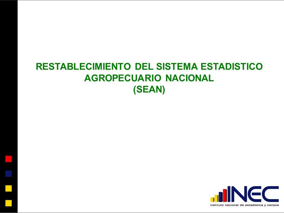 RESTABLECIMIENTO DEL SISTEMA ESTADISTICO AGROPECUARIO NACIONAL (SEAN)