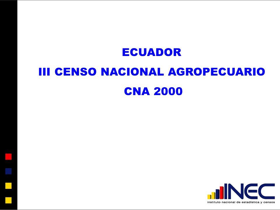 ECUADOR III CENSO NACIONAL AGROPECUARIO CNA 2000