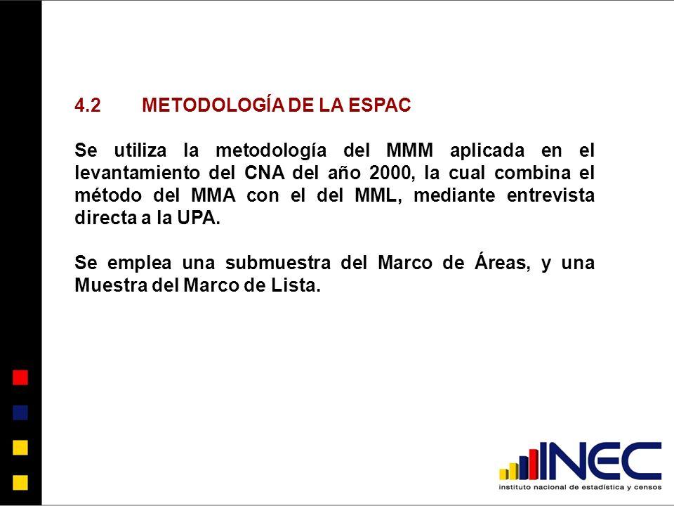 4.2METODOLOGÍA DE LA ESPAC Se utiliza la metodología del MMM aplicada en el levantamiento del CNA del año 2000, la cual combina el método del MMA con el del MML, mediante entrevista directa a la UPA.