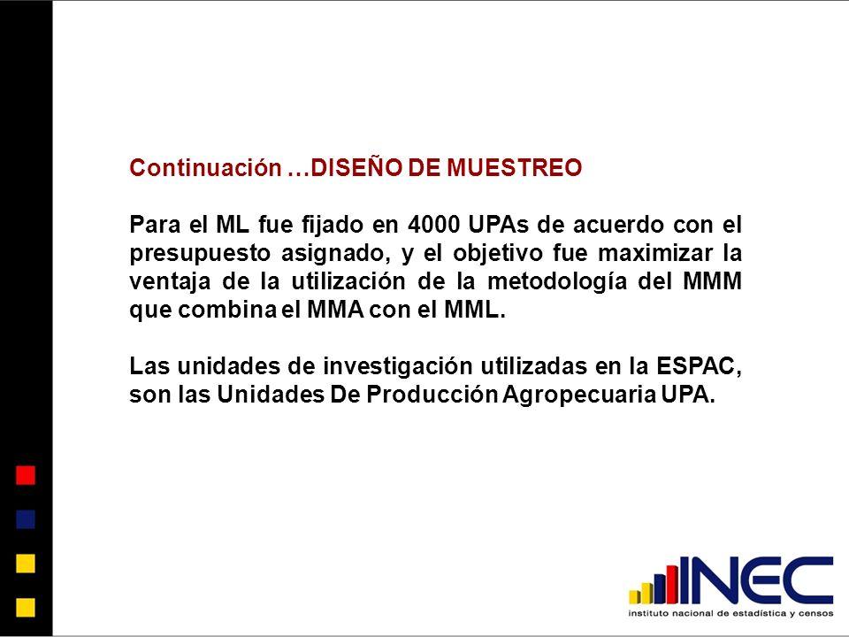Continuación …DISEÑO DE MUESTREO Para el ML fue fijado en 4000 UPAs de acuerdo con el presupuesto asignado, y el objetivo fue maximizar la ventaja de la utilización de la metodología del MMM que combina el MMA con el MML.