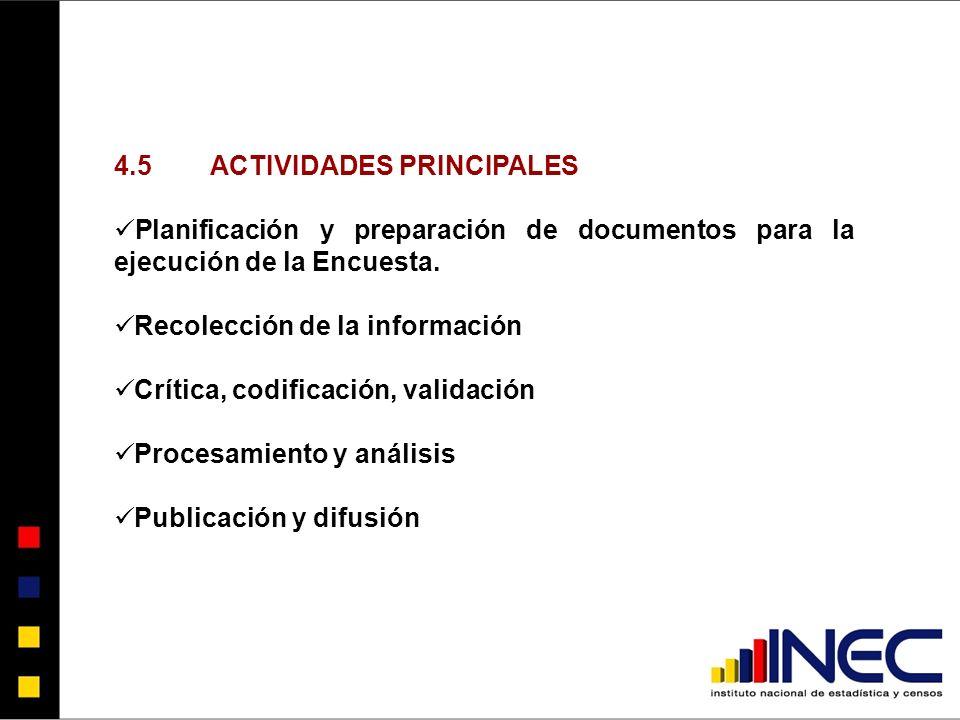 4.5ACTIVIDADES PRINCIPALES Planificación y preparación de documentos para la ejecución de la Encuesta.