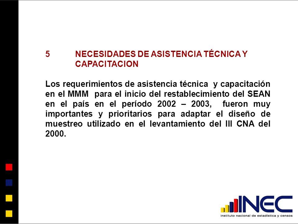 5NECESIDADES DE ASISTENCIA TÉCNICA Y CAPACITACION Los requerimientos de asistencia técnica y capacitación en el MMM para el inicio del restablecimiento del SEAN en el país en el período 2002 – 2003, fueron muy importantes y prioritarios para adaptar el diseño de muestreo utilizado en el levantamiento del III CNA del 2000.