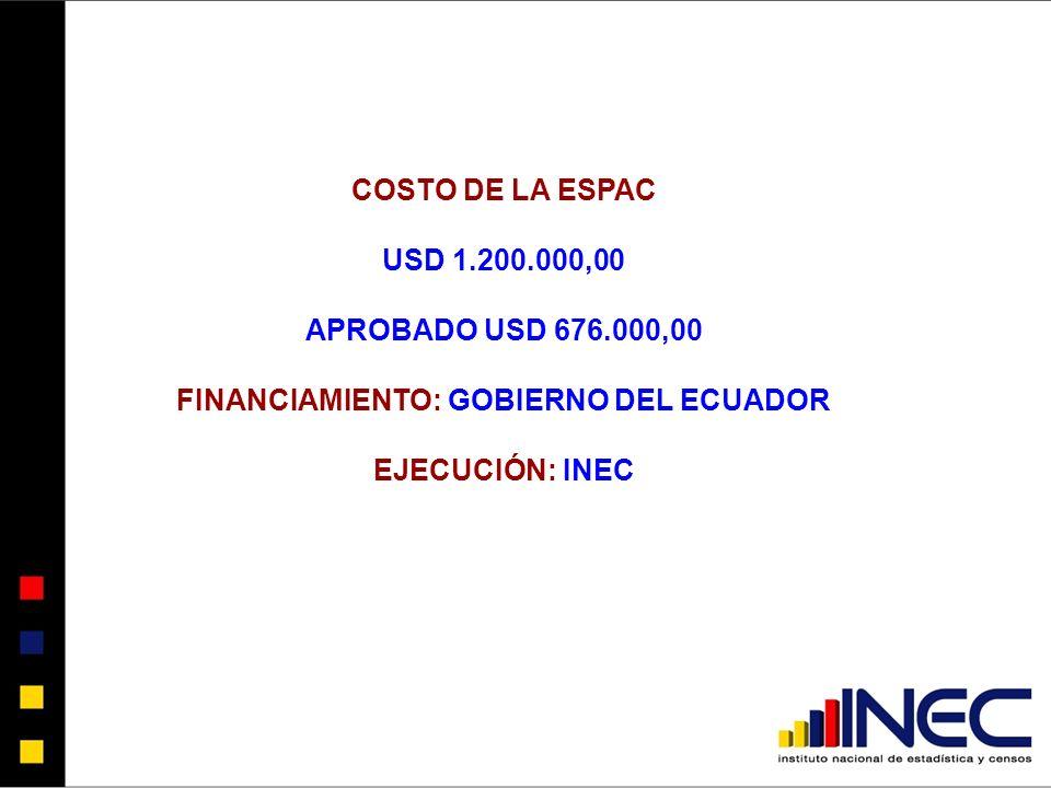 COSTO DE LA ESPAC USD 1.200.000,00 APROBADO USD 676.000,00 FINANCIAMIENTO: GOBIERNO DEL ECUADOR EJECUCIÓN: INEC