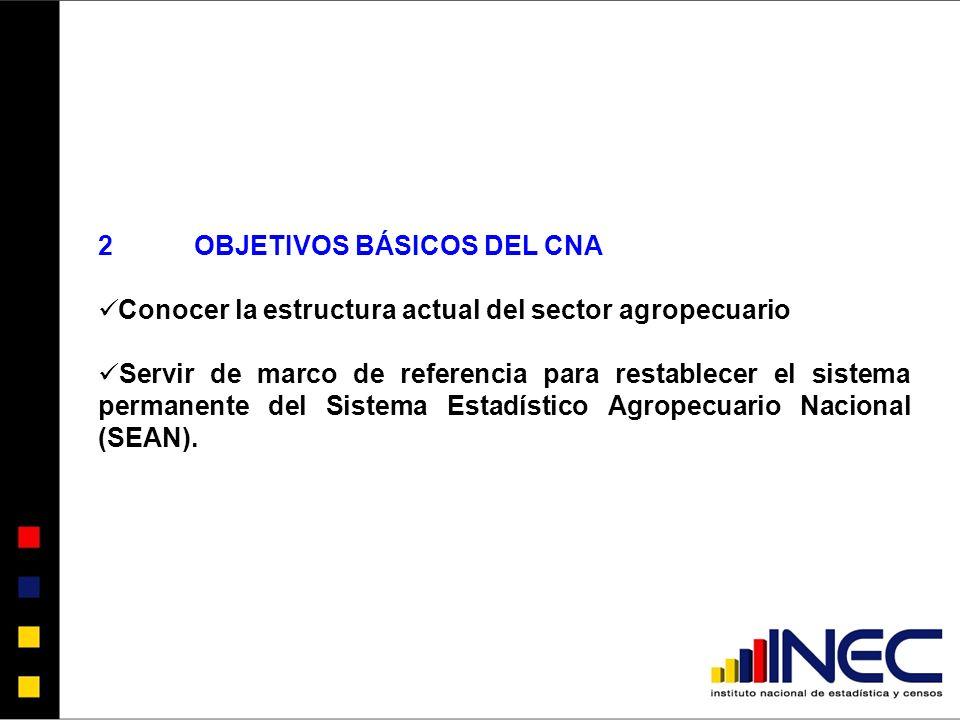 2OBJETIVOS BÁSICOS DEL CNA Conocer la estructura actual del sector agropecuario Servir de marco de referencia para restablecer el sistema permanente del Sistema Estadístico Agropecuario Nacional (SEAN).