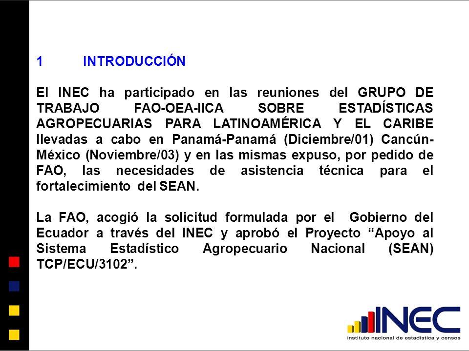 1INTRODUCCIÓN El INEC ha participado en las reuniones del GRUPO DE TRABAJO FAO-OEA-IICA SOBRE ESTADÍSTICAS AGROPECUARIAS PARA LATINOAMÉRICA Y EL CARIBE llevadas a cabo en Panamá-Panamá (Diciembre/01) Cancún- México (Noviembre/03) y en las mismas expuso, por pedido de FAO, las necesidades de asistencia técnica para el fortalecimiento del SEAN.