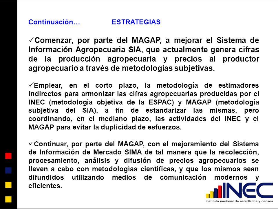 Continuación…ESTRATEGIAS Comenzar, por parte del MAGAP, a mejorar el Sistema de Información Agropecuaria SIA, que actualmente genera cifras de la producción agropecuaria y precios al productor agropecuario a través de metodologías subjetivas.