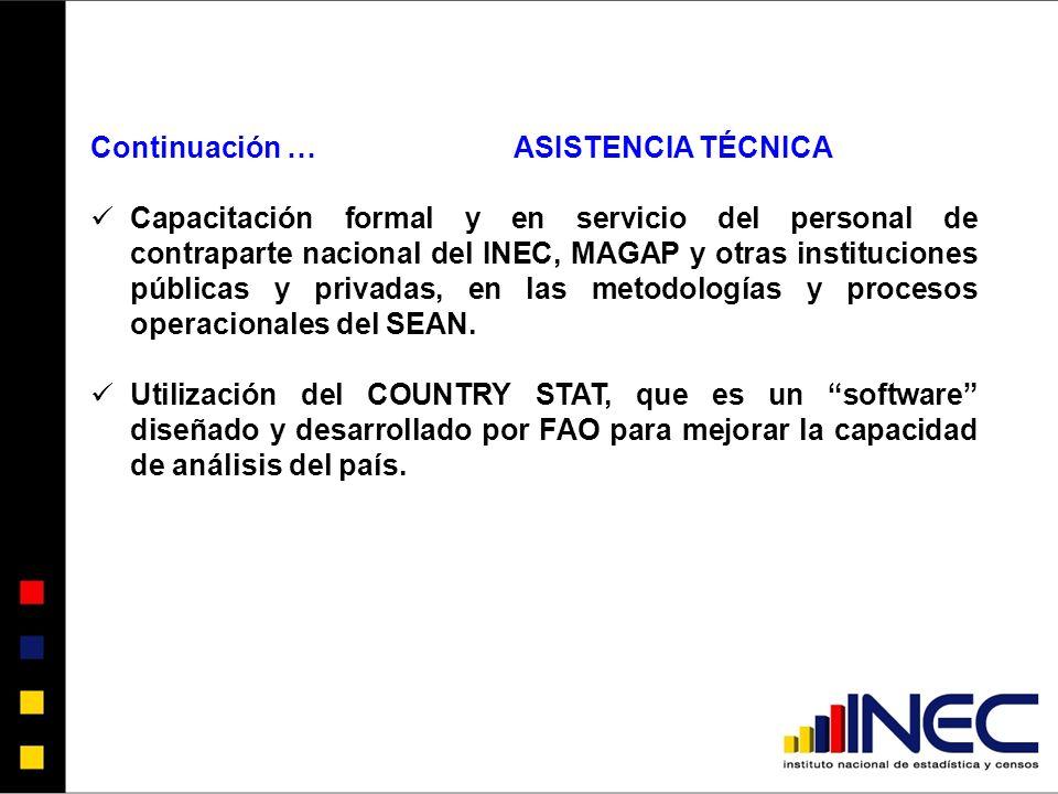 Continuación …ASISTENCIA TÉCNICA Capacitación formal y en servicio del personal de contraparte nacional del INEC, MAGAP y otras instituciones públicas y privadas, en las metodologías y procesos operacionales del SEAN.