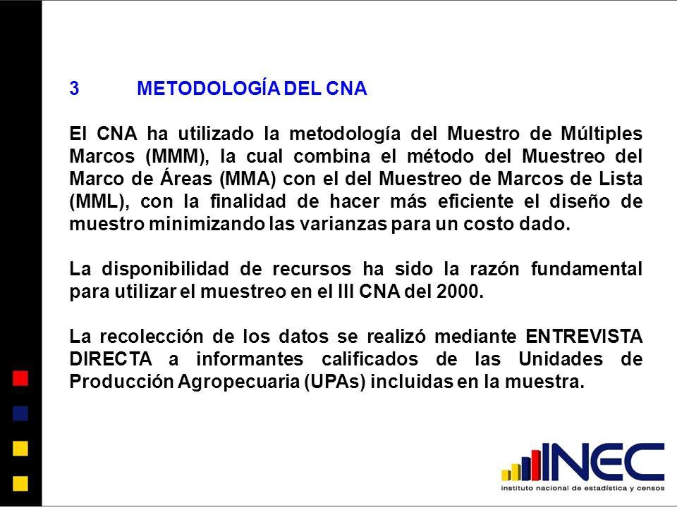 3METODOLOGÍA DEL CNA El CNA ha utilizado la metodología del Muestro de Múltiples Marcos (MMM), la cual combina el método del Muestreo del Marco de Áreas (MMA) con el del Muestreo de Marcos de Lista (MML), con la finalidad de hacer más eficiente el diseño de muestro minimizando las varianzas para un costo dado.