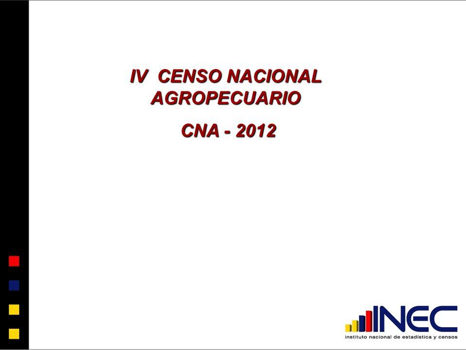 IV CENSO NACIONAL AGROPECUARIO CNA - 2012 CNA - 2012