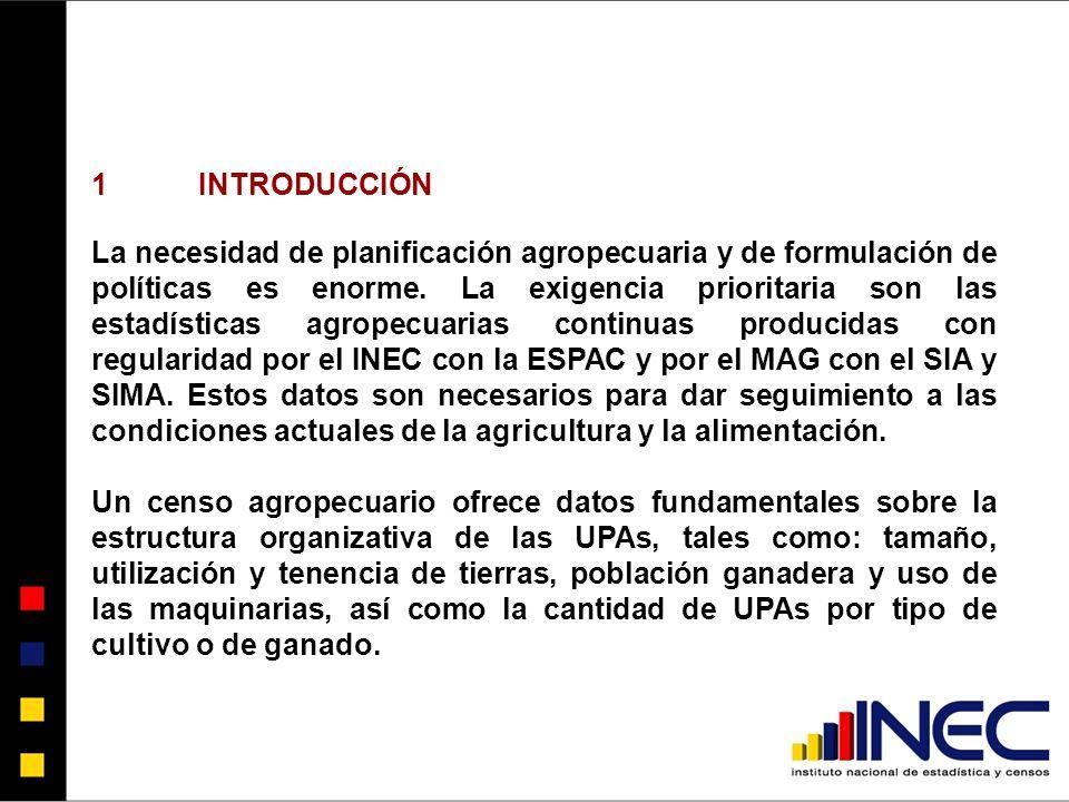 1INTRODUCCIÓN La necesidad de planificación agropecuaria y de formulación de políticas es enorme.