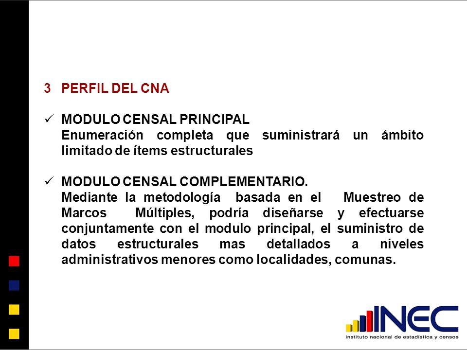 3PERFIL DEL CNA MODULO CENSAL PRINCIPAL Enumeración completa que suministrará un ámbito limitado de ítems estructurales MODULO CENSAL COMPLEMENTARIO.