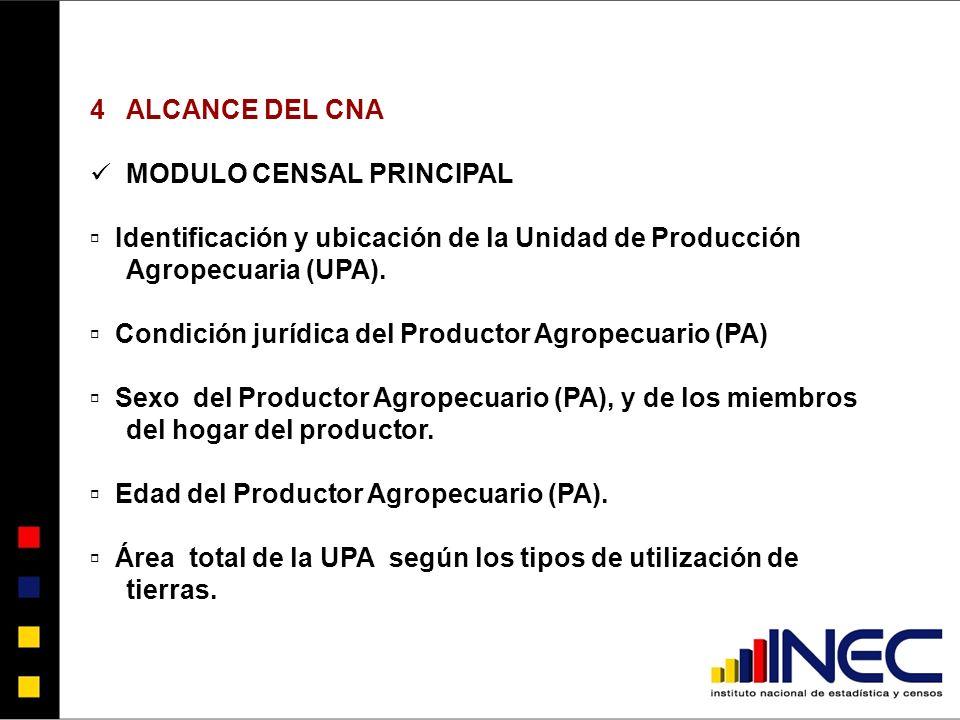 4ALCANCE DEL CNA MODULO CENSAL PRINCIPAL Identificación y ubicación de la Unidad de Producción Agropecuaria (UPA).