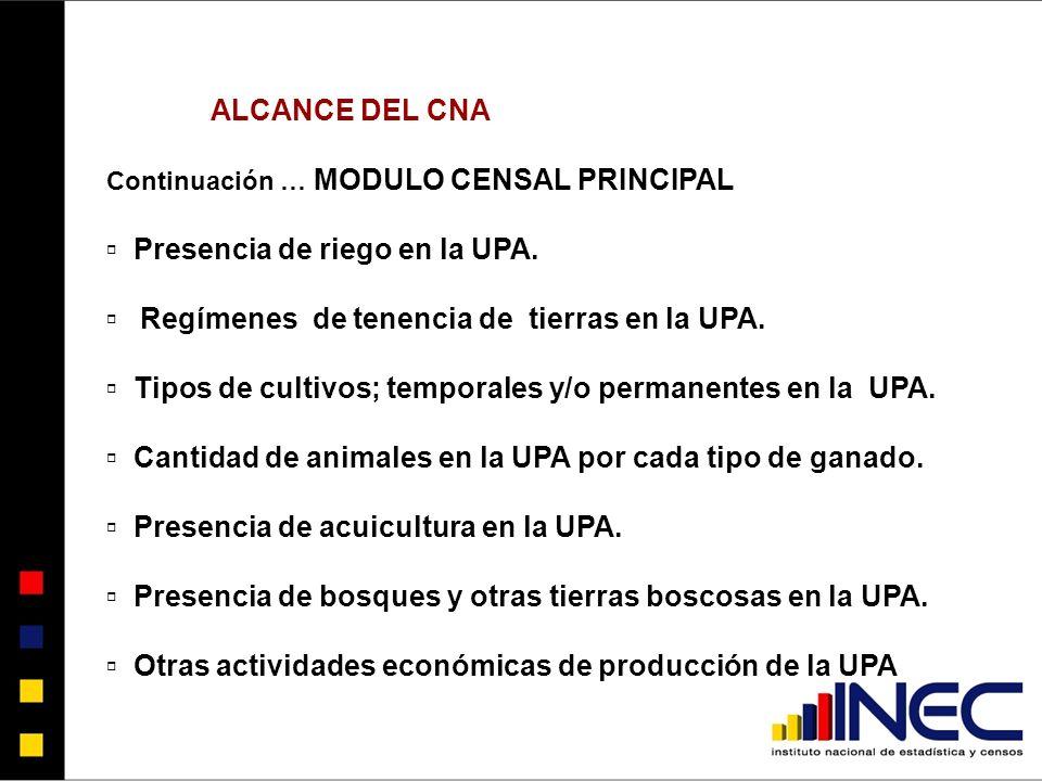 ALCANCE DEL CNA Continuación … MODULO CENSAL PRINCIPAL Presencia de riego en la UPA.
