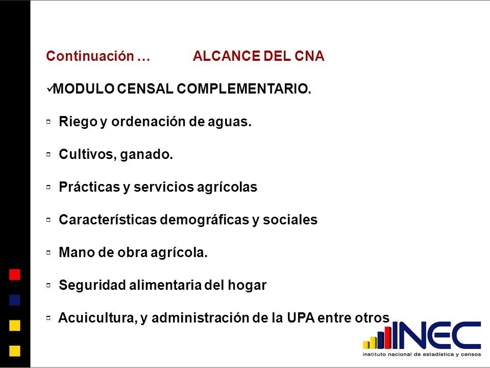 Continuación …ALCANCE DEL CNA MODULO CENSAL COMPLEMENTARIO.
