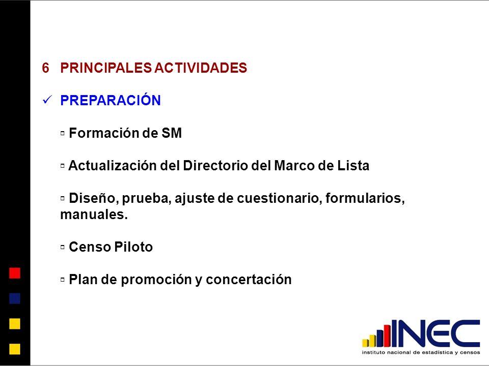 6PRINCIPALES ACTIVIDADES PREPARACIÓN Formación de SM Actualización del Directorio del Marco de Lista Diseño, prueba, ajuste de cuestionario, formularios, manuales.