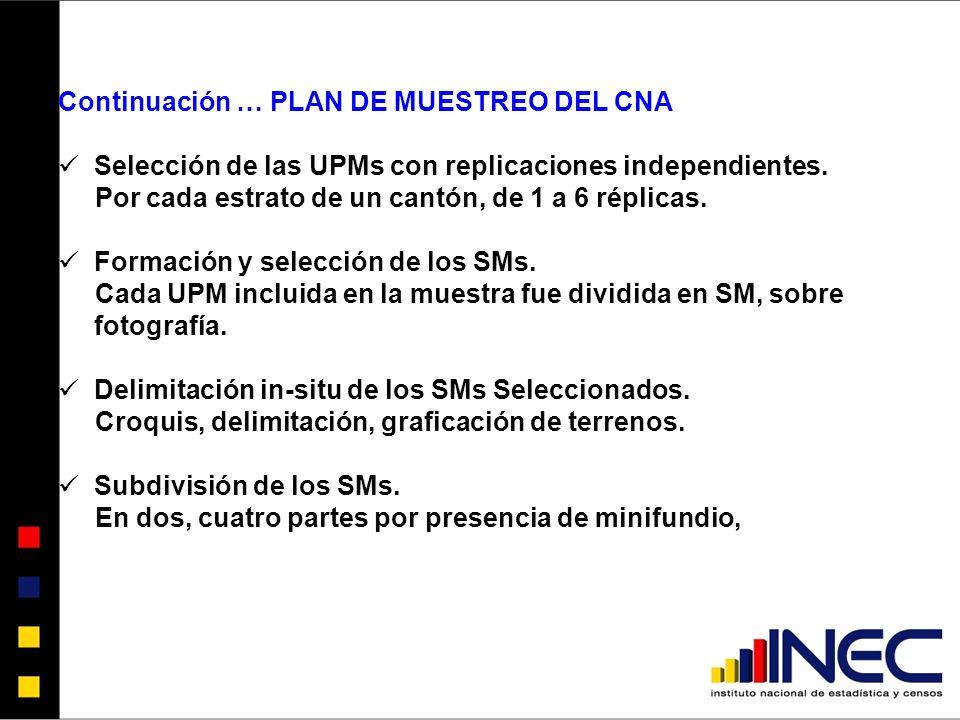 Continuación … PLAN DE MUESTREO DEL CNA Selección de las UPMs con replicaciones independientes.