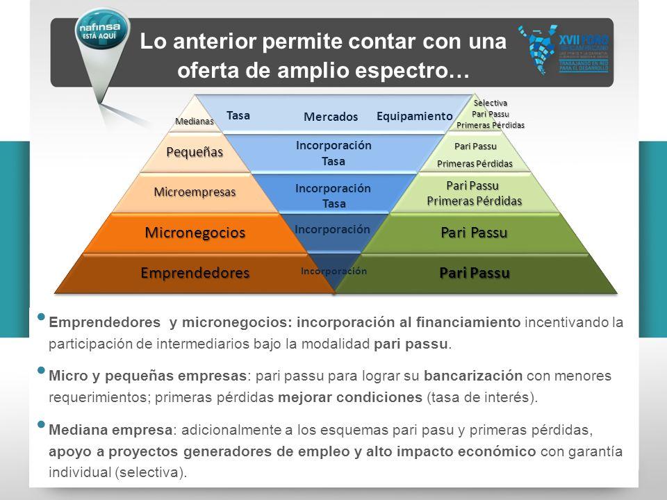 Lo anterior permite contar con una oferta de amplio espectro… Emprendedores y micronegocios: incorporación al financiamiento incentivando la participa