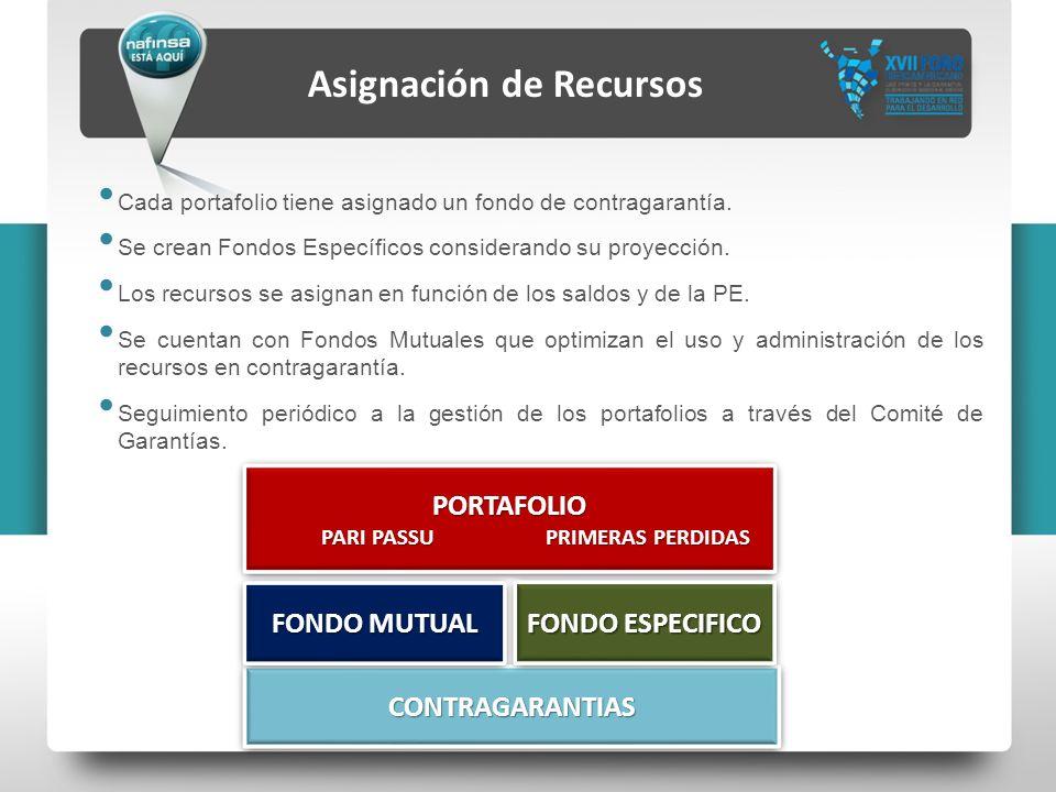 Asignación de Recursos PORTAFOLIO PARI PASSU PRIMERAS PERDIDAS PARI PASSU PRIMERAS PERDIDASPORTAFOLIO CONTRAGARANTIASCONTRAGARANTIAS FONDO ESPECIFICO