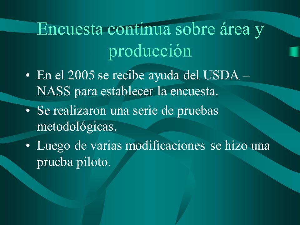 Encuesta continua sobre área y producción En el 2005 se recibe ayuda del USDA – NASS para establecer la encuesta.