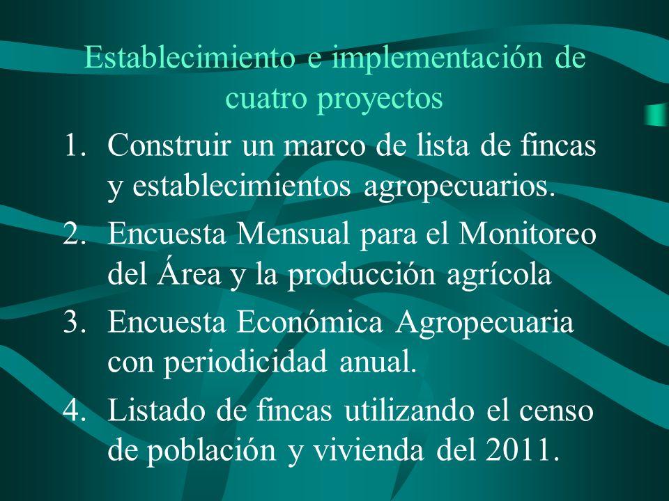 Establecimiento e implementación de cuatro proyectos 1.Construir un marco de lista de fincas y establecimientos agropecuarios.