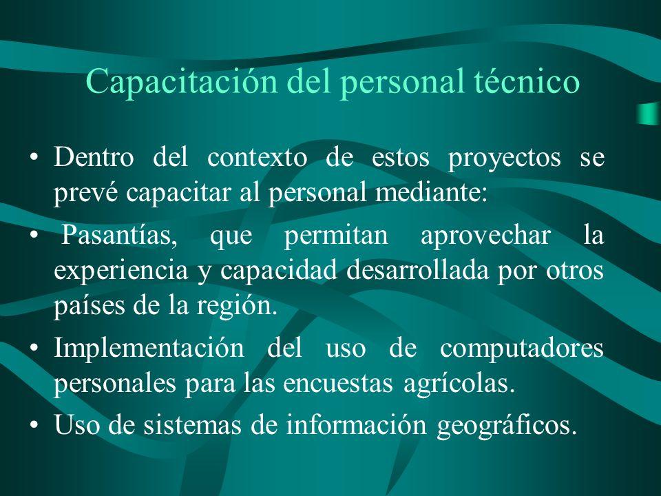 Capacitación del personal técnico Dentro del contexto de estos proyectos se prevé capacitar al personal mediante: Pasantías, que permitan aprovechar la experiencia y capacidad desarrollada por otros países de la región.