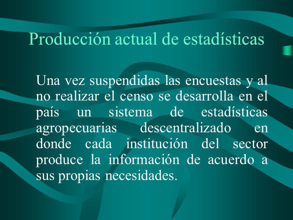 Producción actual de estadísticas Una vez suspendidas las encuestas y al no realizar el censo se desarrolla en el país un sistema de estadísticas agropecuarias descentralizado en donde cada institución del sector produce la información de acuerdo a sus propias necesidades.