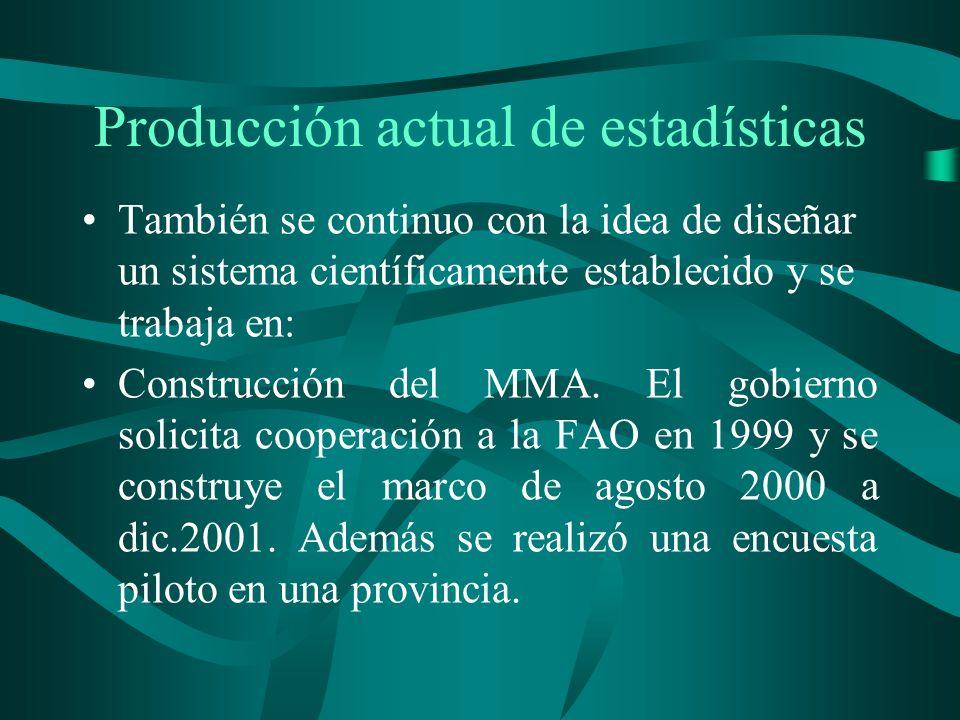 Producción actual de estadísticas También se continuo con la idea de diseñar un sistema científicamente establecido y se trabaja en: Construcción del MMA.