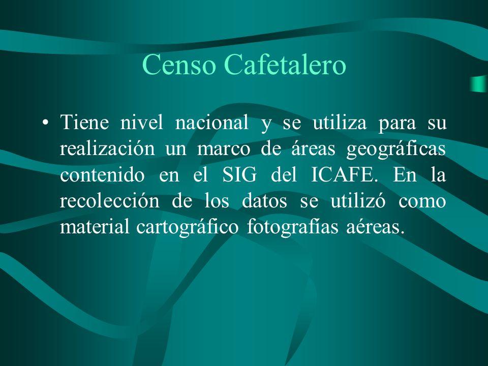 Censo Cafetalero Tiene nivel nacional y se utiliza para su realización un marco de áreas geográficas contenido en el SIG del ICAFE.