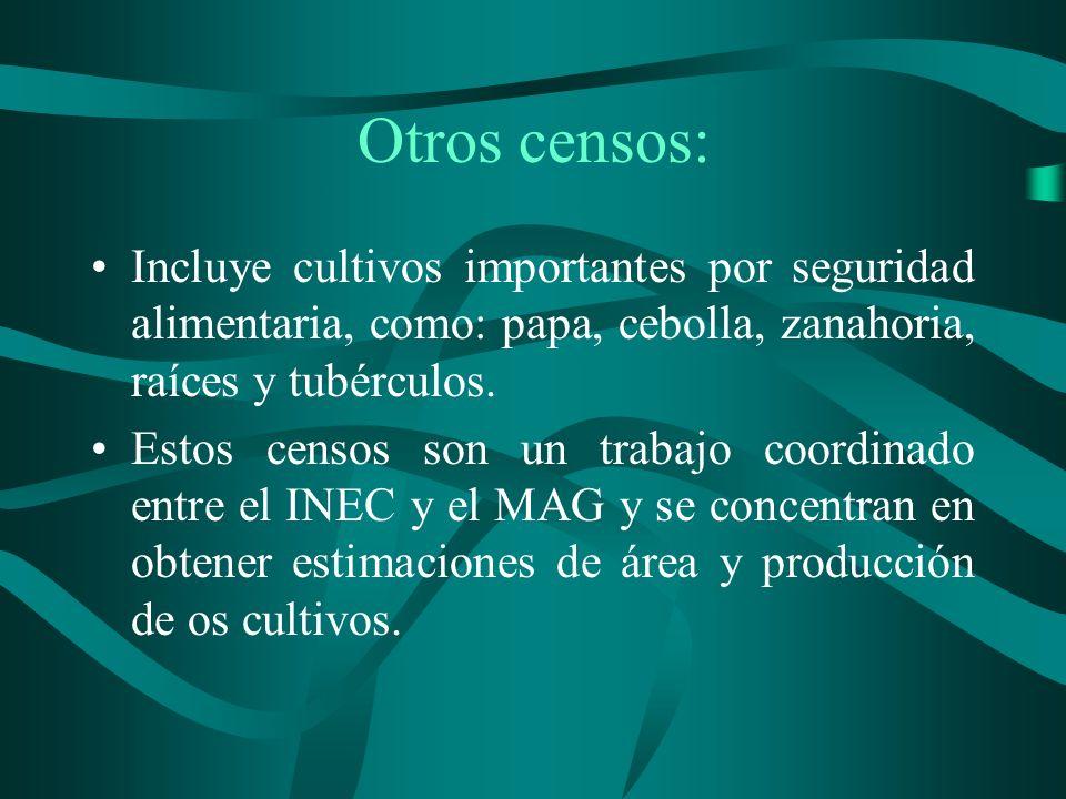 Otros censos: Incluye cultivos importantes por seguridad alimentaria, como: papa, cebolla, zanahoria, raíces y tubérculos.