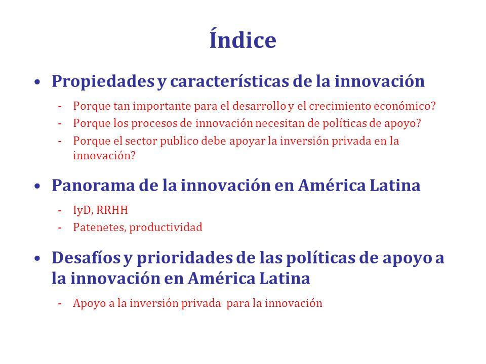 Índice Propiedades y características de la innovación -Porque tan importante para el desarrollo y el crecimiento económico? -Porque los procesos de in